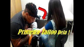 (Vlog)Fazendo A Primeira Tattoo Dela!Tatuagem Ohana No Braço  ,Oque significa? Ela Chorou?