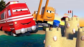 Dane o guindaste de demolição derruba um castelo de concreto - Cidade do Trem ? Desenhos animados.